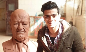 Young Sculptor Mahmoud Fouad and Hassan Hosny's sculpture
