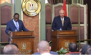 Egypt's Foreign Minister Sameh Shoukry and his Sudanese counterpart Mohamed Ahmed held a meeting on Wednesday to discuss mutual security interests - Press Photo