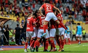 Al-Ahly players celebrate scoring their first goal, photo courtesy of Al-Ahly twitter account