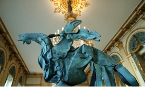 "The iconic copper rooster, which was perched at the top of the spire of Notre-Dame Cathedral for more than a century, before the blaze, is displayed at the exhibition ""Revoir Notre-Dame de Paris"" as part of European Heritage Days 2019, at the French Cultu"