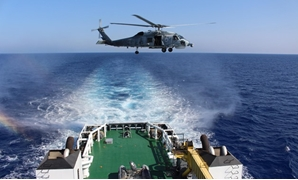 Egyptian naval vessel taking part on the joint naval and air drill between Egypt, Cyprus and Greece on June 27, 2018 - Press photo/Egyptian Armed Forces spokesperson Facebook page
