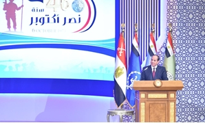 President Abdel Fatah al-Sisi delivering a speech in the ceremony held to celebrate the 46th anniversary of Egypt's victory in 6th of October, 1973 War. October 13, 2019. Press Photo