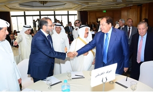 Egyptian business and statesman and head of the Arab Investors Union, Mohamed Abou el Enein with Emir of Kuwait Sabah Al-Ahmad Al-Jaber Al-Sabah- press photo