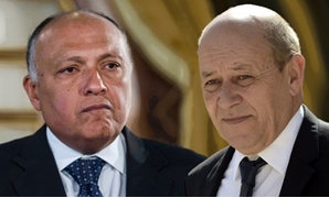 Egypt's Foreign Minister SamehShoukri and Minister of Europe and Foreign Affairs of FranceJean-Yves Le Drian have discussed ways to develop bilateral relations - compiled photo