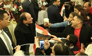 President Abdel Fatah al-Sisi receives warming reception from Coptic Christians at 2020 Christmas Eve mass at the Cathedral of the New Administrative Capital- Egypt Today/Karim Abdel Aziz