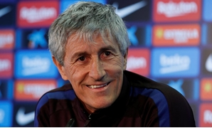 Soccer Football - FC Barcelona Press Conference - Ciutat Esportiva Joan Gamper, Barcelona, Spain - January 18, 2020 Barcelona coach Quique Setien during the press conference REUTERS/Albert Gea