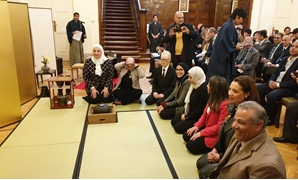 Side of the Japanese traditional tea ceremony hosted at the Japan's Ambassador to Cairo's house, where Minister of Social Solidarity Nevin al-Qabbaj (L) participates in the ceremony Japanese Ambassador Masaki Noke.