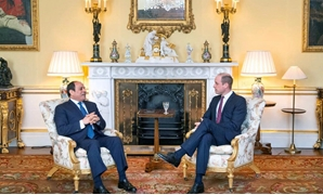 President Abdel Fatah al-Sisi met with Prince William, duke of Cambridge and the son of the crown prince, at the Royal Buckingham Palace on Tuesday - Press Photo