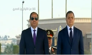 President Abdel Fattah al-Sisi (L) and Minister of Interior (R) ahead of Police Day celebrations - Screenshot/State TV