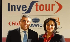 Egyptian Vice-Minister for Tourism and Antiquities Ghada Shalaby (R) and head of Egyptian Tourism Agency Ahmed Youssef (L) in the FITUR Madrid 2020- press photo.