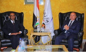 Minister of Transportation Kamel al-Wazir and Indian Ambassador Sanjay Bhattacharyya in a meeting on February 16, 2020. Press Photo