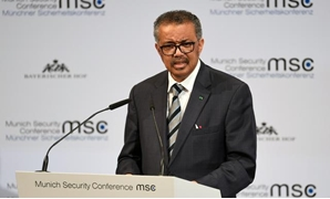 FILE PHOTO: Director-General of the World Health Organization (WHO) Tedros Adhanom Ghebreyesus speaks at the annual Munich Security Conference in Germany February 15, 2020. REUTERS/Andreas Gebert