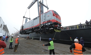 General Electric train engines arriving in Alexandria Seaport on March 31, 2020. Press Photo