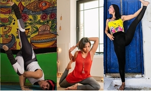 Yoga teachers Aia Faham (right), Shiam Badr (center) and Cherie Ayman