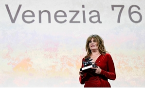 The 76th Venice Film Festival - Awards Ceremony - Venice, Italy, September 7, 2019 - Emmanuelle Seigner accepts on behalf of director Roman Polanski the Silver Lion award - Grand Jury Prize. REUTERS/Piroschka van de Wouw.