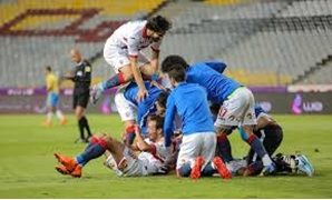 File- Zamalek players celebrate scoring against Ismaily